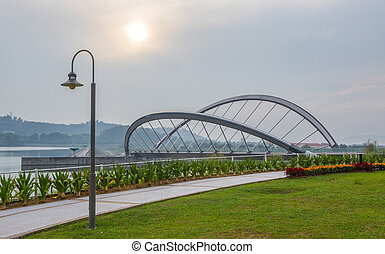 Lamp Post And Bridge - Lamp post and bridge in a garden