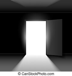 Open door - Exit door with light Illustration on dark empty...