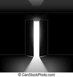 Double open door - Exit door with light. Illustration on...
