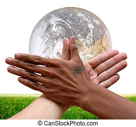 Global cooperation - Two racially different hands together...