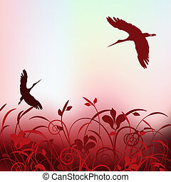 beautiful cranes flying in the spring sky. - beautiful...