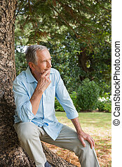 Thoughtful mature man sitting on tr