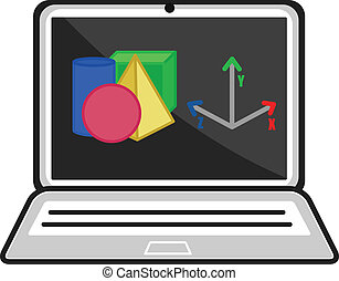 3D Programme - CAD Concept - Drawing Art of Cartoon Laptop...