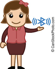 Bluetooth Concept - Cartoon Vector - Drawing Art of Young...