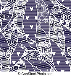Lace seamless pattern with flowers on navy background