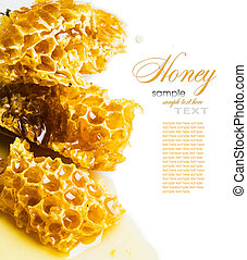 miel, gros plan, Rayon miel, morceaux