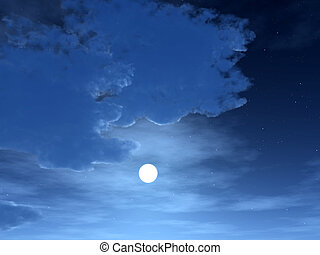 Night Time Sky 2 - A bright moon in a cloudy night sky