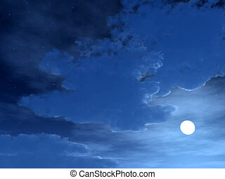 Night Time Sky 4 - A bright moon in a cloudy night sky.