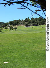 View from the tee of on a golf course