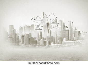 Construction sketch - Hand drawing of urban scene...