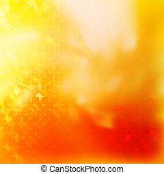 quadrado, Padrão, vermelho, laranja, cores, EPS, 10