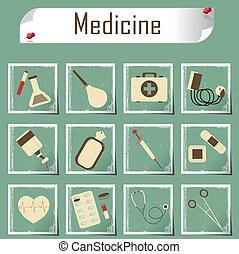 retro vector icons medicine