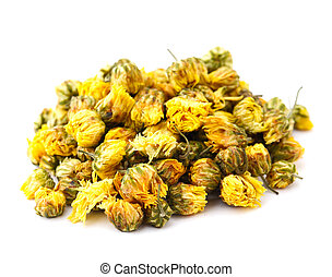 Dried chamomile flower isolated on white background