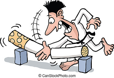Quitting smoking with karate - A martial artist man breaking...