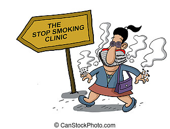 Woman goes to a smoking clinic - A woman goes to a smoking...