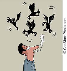 Smoking will kill you - Vultures are circling above the male...