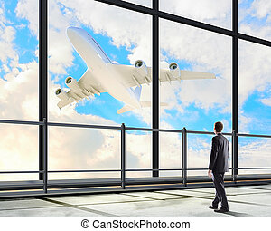 Businessman at airport - Image of businessman at airport...