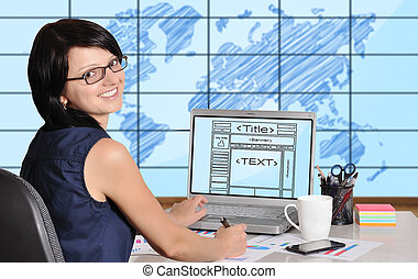 web page on screen - woman sitting in office and web page on...