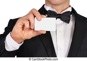 visiting card - businessman holding blank visiting card