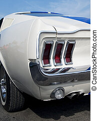 Detail of American sportscar - Rear detail of white,...