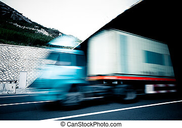 motion truck go through the tunnel.