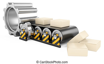 Conveyor with boxes. - Conveyor Belt of rubber with boxes....