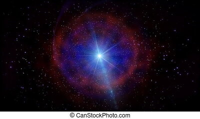 Star in stars tube rotating in space, HD