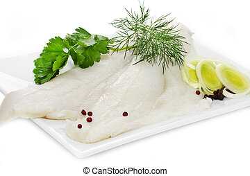 Halibut fillets on a white plate - Two Halibut fillets on a...