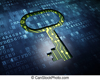 Security concept: Key on digital screen background -...