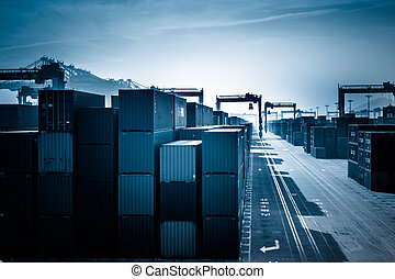 Container Yard and Crane at a harbor.