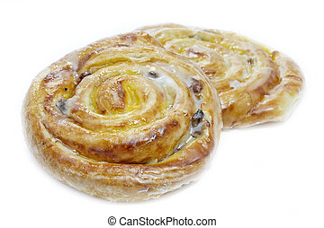 Danish pastries with raisins, vanilla creme and sugar icing...