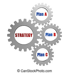 strategy and plans in silver grey gears