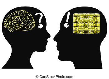 Analog and digital thinking - Man and woman may have...