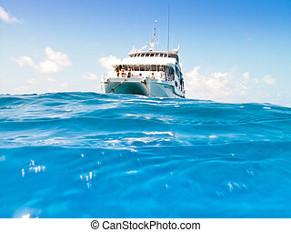 Tourist catamaran in mid ocean viewed from the surface of...