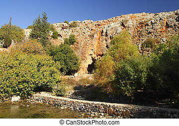 Banias - The source of the Banias with Pangrotte in the...