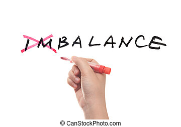 Imbalance to balance concept, hand writing on white board