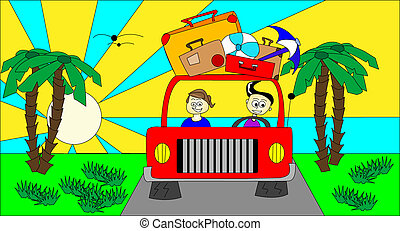 Illustration of car with suitcases going on holiday