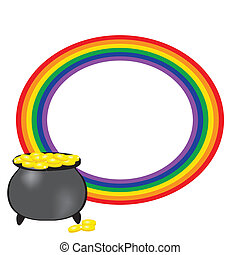 Black vector pot of leprechauns gold with lucky clovers