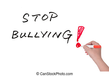 Stop bullying words written on white board