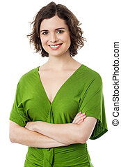 Confident woman with arms folded - Confident beautiful woman...
