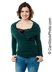 Stunning smiling female model in trendy casuals - Young...