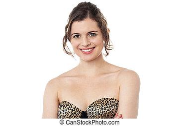 Smiling woman wearing designer stra - Glamorous female...
