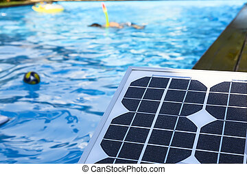 photovoltaic solar panel for heating water in the childrens...