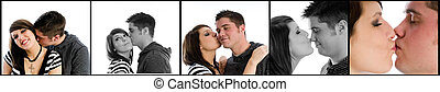 kissing couple - an attractive young couple kissing
