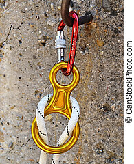Climbing equipment - carabiners and rope - Climbing...