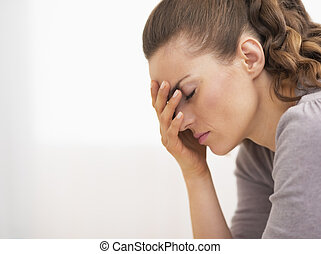 Portrait of stressed young woman - Closeup on pills pack in...