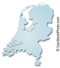 Map of Netherlands - A 2D illustration of a map of...