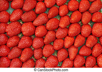 Fresh strawberries as format filling background - Fresh...
