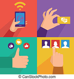 Vector set of flat illustrations - mobile phone and social...