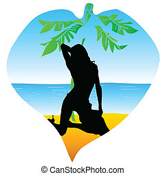 girl enjoy on the paradise beach with palm vector illustration
